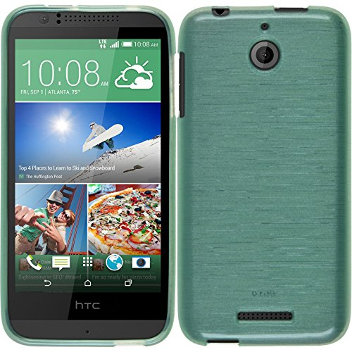PhoneNatic Case kompatibel mit HTC Desire 510 - grün Silikon Hülle Brushed + 2 Schutzfolien