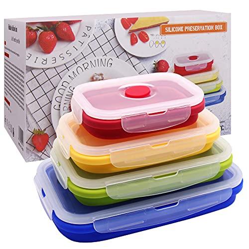 Fiambreras Silicona plegables, Recipientes de Silicona Plegable,Fiambrera de Silicona Juego,Silicona Recipientes para Alimentos, Aptas para Microondas, Congelador y Lavavajillas(4 PCS)