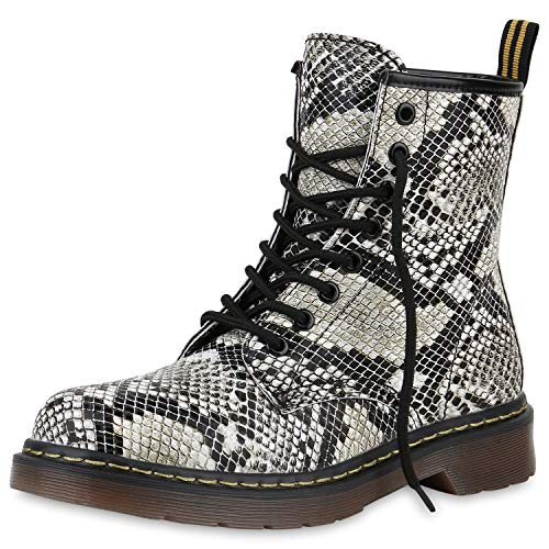SCARPE VITA Damen Stiefeletten Worker Boots Profilsohle Stiefel Outdoor Schuhe 173516 Weiss Muster...