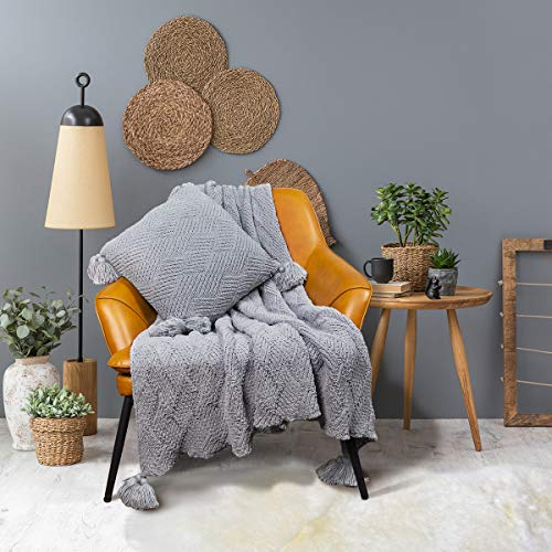 MYLUNE HOME Manta de chenilla de punto gruesa para acurrucarse en el sofá, ver la siesta de la televisión en la silla, 130 x 160 cm, hoja gris