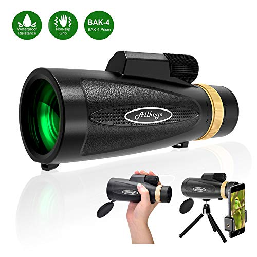 Monocular Telescope12x60 High Definition IPX7 Waterproof Spotting Scope-BAK4 Prism with Smartphone Holder for Hiking,Hunting,Birdwatching,Camping,Travelling,Wildlife Secenery (Black)