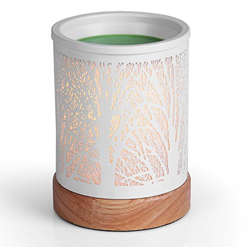 Foromans Classic Oil Wax Melts Warmer White Forest Design Fragrance Tart Candle Warmer for Home Décor