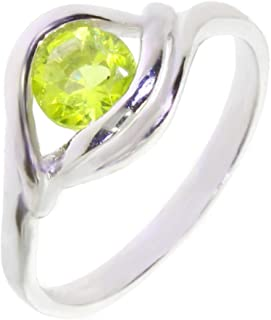 925 Sterling Silver Ring Vert Péridot Naturel Solitaire Taille 5 6 7 8 9 10 11