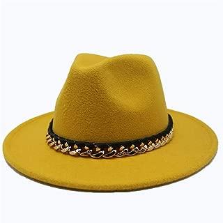 SGJFZD Men's Women's Wool Fedora Hat Travel Autumn Cloche Jazz Hat Wide Brim Church Hat Elegant Lady Fascinator Trilby Hat (Color : Yellow, Size : 56-58)