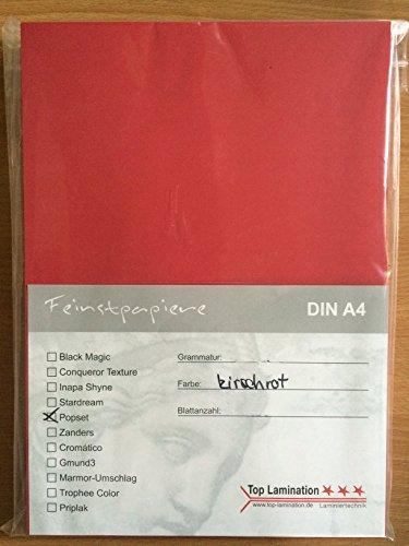 100 vellen DIN A2 kersenrood papier 170 g/m2 bedrukbaar - volledig gekleurd - kartonnen doos super kwaliteit