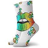 Etiqueta engomada del símbolo del Logotipo LGBT. Icono De Labios En Colores del...