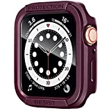 AdMaster Screen Protector Case Compatible with Apple Watch 40mm, Military Hard Rugged Tough TPU Bumper Tempered Glass Cover Overall Durable Duty Heavy for iWatch Series 6/5/4/SE 40 mm Men Wine Red