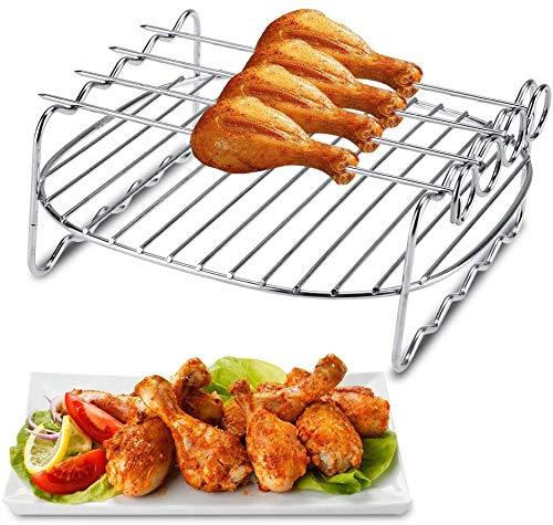 Fdit Heißluftfritteuse Zubehör,Heißluft Fritteuse Airfryer Zubehör aus Edelstahl,Antihaft-Fass/Pizzablech + Silikon-Matte + /Doppelschicht-Rack