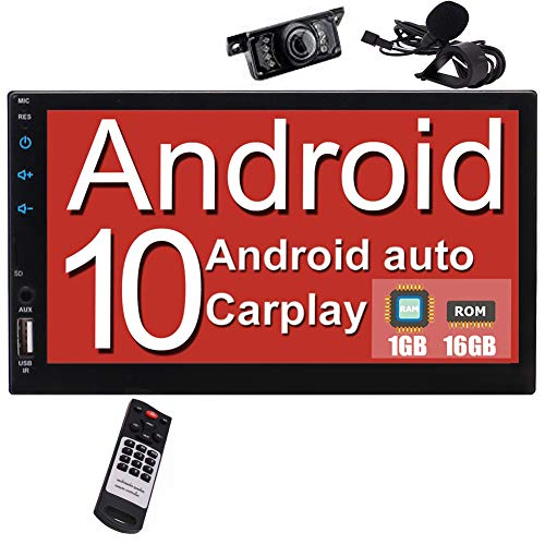 Autoradio Bluetooth Doppel Din Radio Carplay Auto Radio mit Navigation Android Auto 2 Din Moniceiver 7 Zoll Bildschirm Android 10 Navigationsgeräte für Auto Car Play DSP DAB Wifi 4G 4K Rückfahrkamera