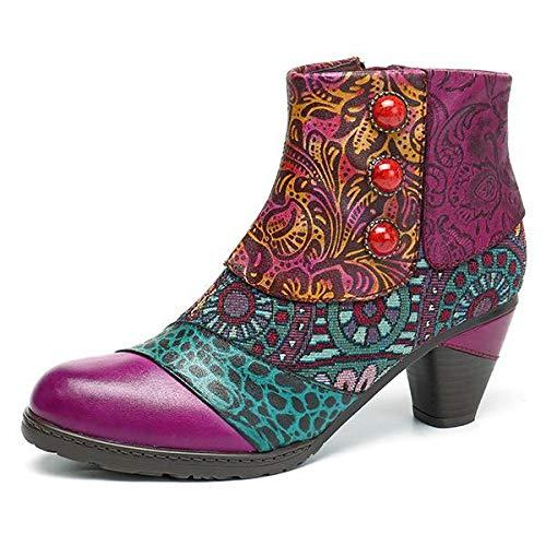 Socofy Bohemian Splicing Pattern Button Zipper Ankle Leather Boots Purple / 7