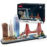 CubicFun Puzzle 3D LED San Francisco Cityline Maquetas para Construir Adultos Niños Kits de Construcción de Iluminación, El Puente Golden Gate, 555 Calle California y Otros Monumentos de SF