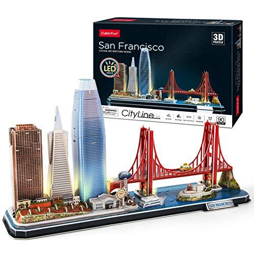 CubicFun 3D Puzzle San Francisco LED CityLine - Golden Gate Bridge, 555 California Street und andere SF Sehenswürdigkeiten Kits und Souvenirgeschenk 90 Stück