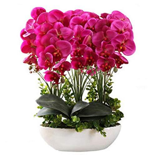 Sarazong Artificielle Fleur Ornements Phalaenopsis, Réaliste Real Touch Fleur Table Décoration Floral pour La Décoration Intérieure Faux Fleurs Petit en Pot,Pink