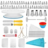 TIMESETL 100Pcs Cake Decorating Set | Cake Turntable Rotating Stand | 2 Icing Spatula | 53 Icing Tips | 2 Silicone Pastry Bags 25 Pastry Bags | 3 Icing Scrapers | Other Cake Decorating Supplies