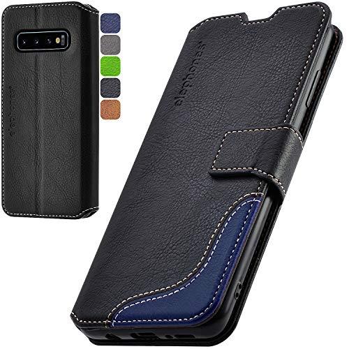 elephones Handyhülle für Samsung Galaxy S10 Plus Hülle mit TÜV geprüftem RFID-Schutz aus PU Leder Samsung Galaxy S10 Plus Schutzhülle Flip Hülle Klapphülle Handytasche Samsung S10+ Schwarz