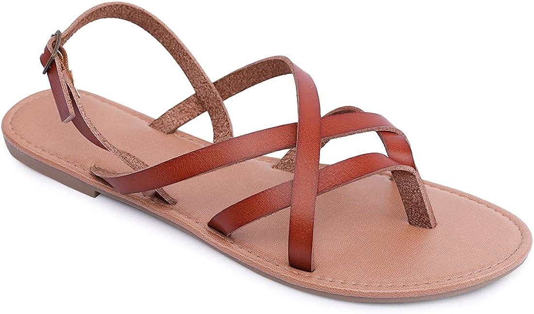 Women's Gladiator Flat Sandals Roman Braided Strappy Flip Flops Fisherman Cross Strap Thong Summer Shoes