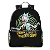 Qmad Men's Rick Morty Wallpaper Black-edged Endurable Full Print Bags For Weekend Vacation