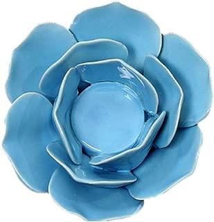 LIOOBO Ceramic Lotus Candle Holder Tea Lights Holder Home Decoration (Blue)