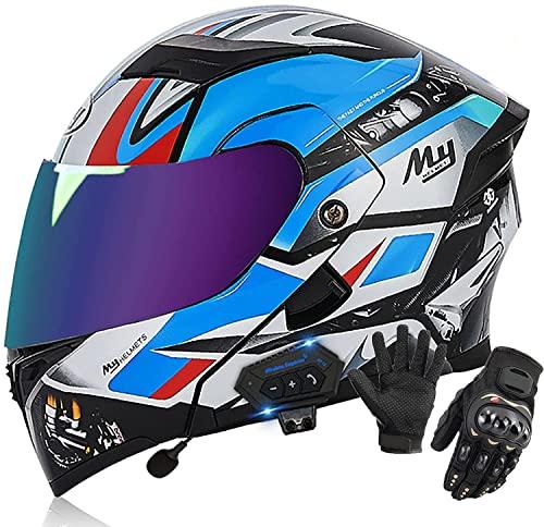 OOMEI Klapphelme Integrierter Bluetooth- Motorradhelm Modularer Helme, ECE Zertifiziert Integralhelm Motorradhelm Doppelvisier Modularer Helm Rollerhelm Sturzhelm Für Damen Und Herren