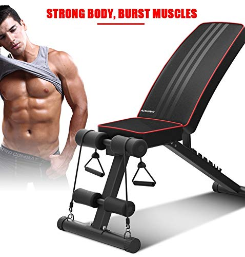 Foldable Weight Bench Sit up Bench | Adjustable Fitness Bench with Exercise Rope | Home Gym Workout Bench | Incline Abs Benchs Flat Fly Weight Press Fitness Exercise Strength Training Muscle Gains
