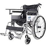TWL LTD-Wheelchairs Manueller Rollstuhl, Der Ältere Personen Zusammenklappt Leichter Älterer Rollstuhl mit Vollreifen, Der mit Töpfchen Zusammenklappt, Schwarz -