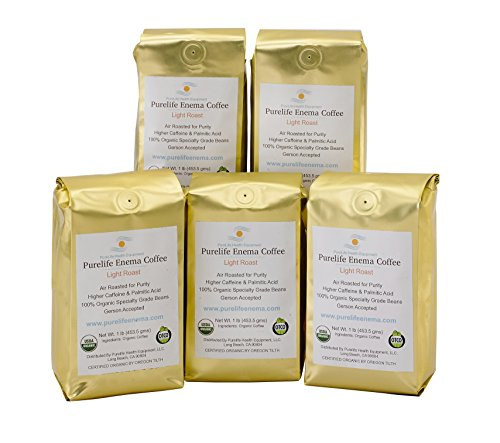 Purelife Enema Coffee - 5 Lbs Organic Air Roast'Light' - Ground - Gerson Specific- Buy in Bulk and Save! Ships Fresh and Direct from Purelife