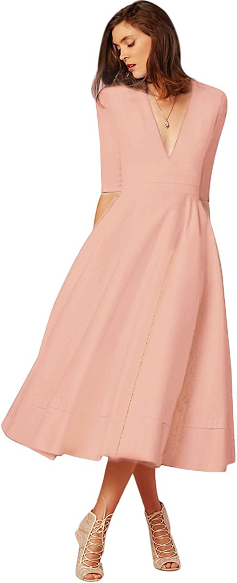 Women Deep V Neck Half Sleeve Cocktail Midi Dress Elegant Wedding Formal A-Line Evening Dance Party Gown