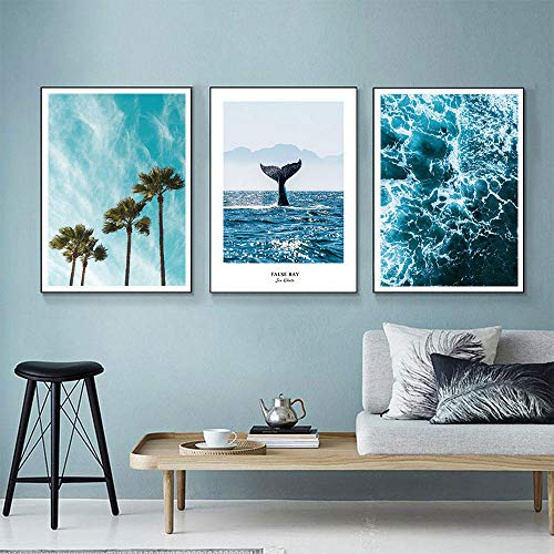 Lienzo de árbol de coco, imagen de arte de pared, cartel de cola de ballena, impresión de paisaje marino, cuadros de pared modernos para decoración de sala de estar, 50x70cmx3 sin marco