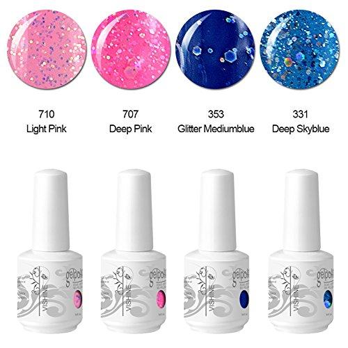 Vishine Vernis à ongles Gel Semi-permanent Soak Off UV LED Gelpolish Lot de 4 x 15ml Manucure Kit C148