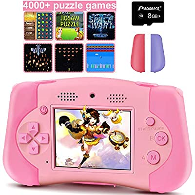 """PROGRACE Handheld Game Console Support 4000+ Games Kids Camera for Toddler 4-12 Year Old Girls Boys Toy Gifts Kids Digital Video Camera for Kids Music Selfie Children Camera 12M 2.4""""(Pink)"""