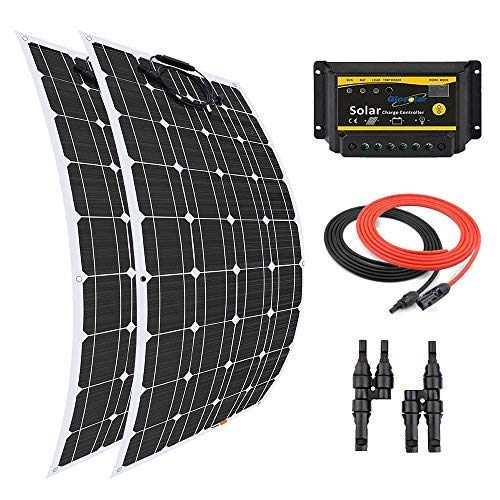 Giosolar 200 Watt 12 Volt Solar Marine Kit Monocrystalline Panel with 20A LED Charge Controller for RV Solar Charging Off-Grid System