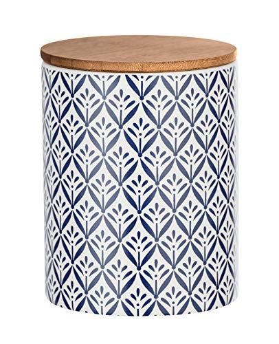 Wenko Aufbewahrungsdose Lorca 0,95 l - Vorratsdosen, Frischhaltedose mit Bambusdeckel und Silikonring luftdicht und aromafrisch Fassungsvermögen: 0,95 l, Keramik, 11 x 14,5 x 11 cm, mehrfarbig