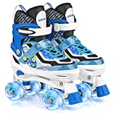 Roller Skates for Kids Girls Boys 4 Size Adjustable Roller Skates with Wheels Light up for Children,...