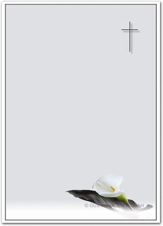 200 Stück Trauerpapier DIN A4 Trauer-Briefpapier      Serie  Calla - TrauerBlaume    22 x 11 cm    90 g m²    für Drucker geeignet  B07BFX7J56 | Bekannt für seine schöne Qualität  c6f205