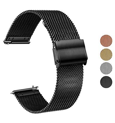 XIRUVE Cinturino per Orologio Sgancio Rapido in Acciaio Inox Maglia Donna Uomo 14/16/18/20/22/24mm (18mm, Nero)