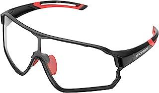 ROCKBROS Gafas de Sol Fotocromáticas Deportivas con Lentes Transparentes para Deportes Ciclismo Running PC Protección UV400 Anti Viento MTB para Hombres y Mujeres Unisex Negro