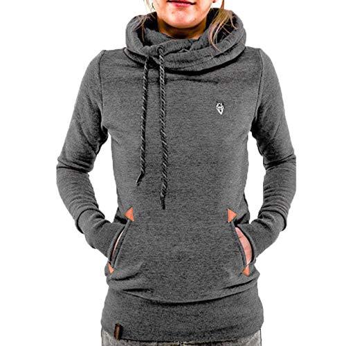 JCZX Wintermode Kapuze Langarm Tasche Bestickt Kapuze Pullover Frauen