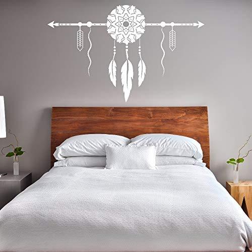 Estilo boho atrapasueños etiqueta de la pared decoración del dormitorio del hogar atrapasueños con flecha arte de la pared mural vinilo creativo decoración de la pared calcomanía A8 57x36cm