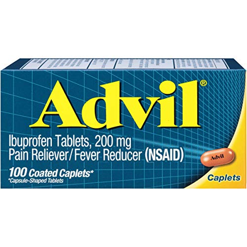 Advil Coated Caplets Pain Reliever and Fever Reducer, Ibuprofen 200mg, 100 Count, Fast-Acting Formula for Headache Relief, Toothache Pain Relief and Arthritis Pain Relief