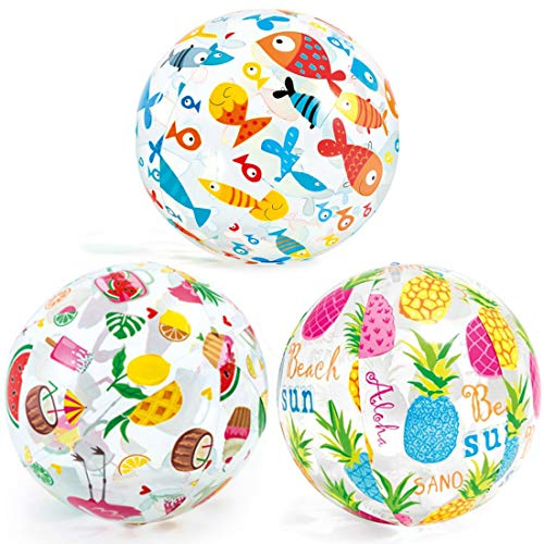 Beach Pool Balls - Tomicy 3 Pcs Toy Inflatable Clear Water Ball for Summer Pool Party Fun Games Activities Random Pattern 14 Inches / 35 cm