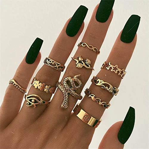 Zoestar Juego de anillos de dedo de cristal bohemio, anillos de serpiente dorados, apilables, huecos, tallados para mujeres y niñas (paquete de 11)