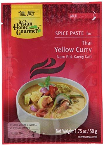 Asian Home Gourmet Würzpaste thailandische Curry gelb, 6er Pack (6 x 50 g)