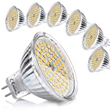 Yafido 6er GU5.3 LED Warmweiß MR16 12V 5W Ersatz für 35W Halogen Lampen GU5.3 2800K 400 Lumen Birne Leuchtmittel 120°Abstrahwinkel