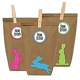 12 DIY Geschenktüten zu Ostern zum selber Basteln und Befüllen - Do It Yourself Osternest mit 12 Papiertüten und Osterhasen Aufklebern - Design 3