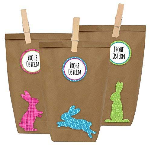 12 Sacs-cadeaux loisirs créatifs pour Pâques à faire et remplir soi-même - DIY Do it yourself - Nid pour œufs de Pâques avec 12 sacs en papier et autocollants lapins de Pâques - Modèle 3