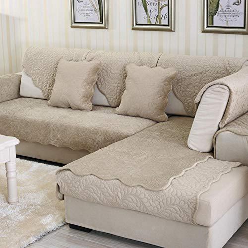 cubresofa,Protector sofas rinconeras,Funda protectora de sofá en forma de L,manta de sofá acolchada con flores,funda antideslizante de felpa corta,fundas de sofá de cuero de esquina-Camello_El 110 *