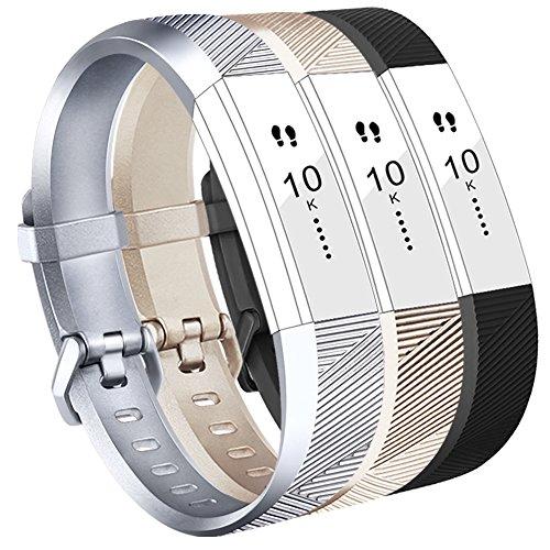 Vancle Fitbit Alta HR Armband, Fitbit Alta Armband Weiches Sports Ersetzerband Silikagel Fitness Verstellbares Uhrenarmband für Fitbi Alta und Fitbit Alta HR (Champagne Silver Black, Large)