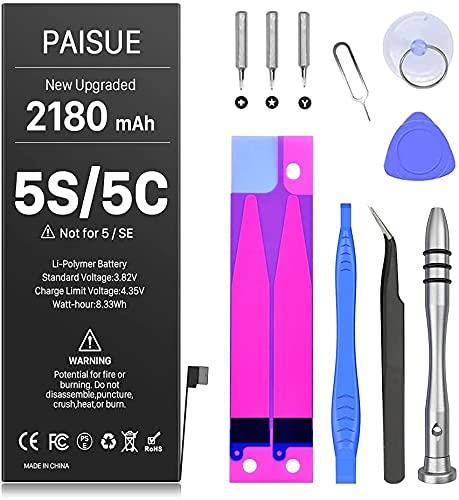 Akku für iPhone 5S und 5C (Nicht 5 / SE), verbesserte 2180 mAh höhere Kapazität Neuer 0-Zyklus-Akku-Ersatz für iPhone 5S 5C mit professionellem Reparaturwerkzeug-Kit und Klebstoff