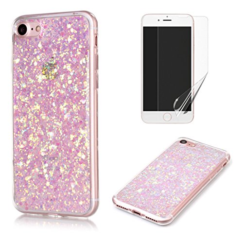Pour Coque iphone 7 Plus Silicone Souple Étui avec Écran Protecteur, OYIME [Paillette Brillante Bleu] Housse Glitter Luxe Ultra Fine Transparent Couverture Anti-Scratch Flexible