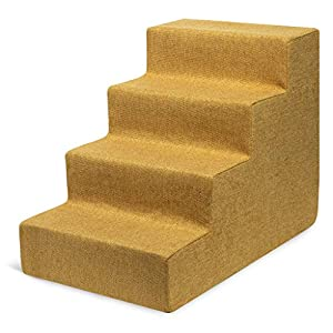 Best Pet Supplies USA Made Pet Steps/Stairs with CertiPUR-US Certified Foam for Dogs & Cats Mustard, 4-Step (H: 18″) (ST268-M)